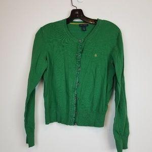 Tommy Hilfiger green ruffled button down cardigan